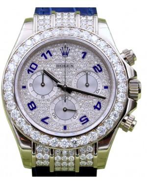 Rolex Daytona White Gold Factory Diamond Bezel Pave Arabic Dial Leather 116599RBR - BRAND NEW