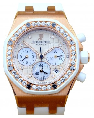 Audemars Piguet 26048OK.ZZ.D010CA.01 Royal Oak Offshore Chronograph 37mm White Diamond Rose Gold Rubber Automatic BRAND NEW