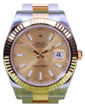 Rolex Datejust II 116333 Men's 41mm Champagne Index 18k Yellow Gold Stainless Steel BRAND NEW
