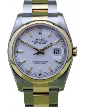 Rolex Datejust 36 116203-WHTSDO White Index Yellow Gold Stainless Steel Oyster - BRAND NEW
