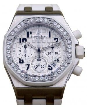 Audemars Piguet 26048SK.ZZ.D010CA.01 Royal Oak Offshore Chronograph 37mm White Arabic Diamond Bezel Stainless Steel Rubber BRAND NEW