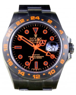 Rolex Explorer II 216570 Men's 42mm PVD DLC Orange Stainless Steel Black GMT - BRAND NEW