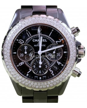 Chanel J12 H1009 Black Ceramic Diamond Chronograph 41mm Automatic - BRAND NEW