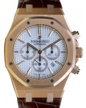 Audemars Piguet 26320OR.OO.D088CR.01 Royal Oak Chronograph 41mm Silver Index Rose Gold Leather BRAND NEW