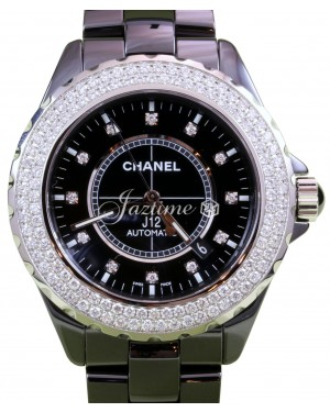 Chanel J12 H2014 Black Ceramic Diamond 42mm Automatic Date BRAND NEW