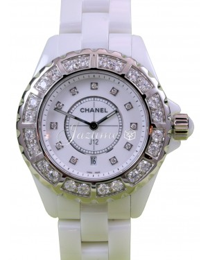 Chanel J12 H2429 Ladies Midsize 33mm Quartz White Ceramic Diamond - BRAND NEW