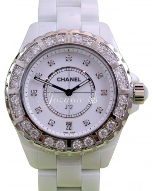 Chanel J12 H2430 Ladies 38mm White Ceramic Diamond Bezel  Dial Quartz - BRAND NEW