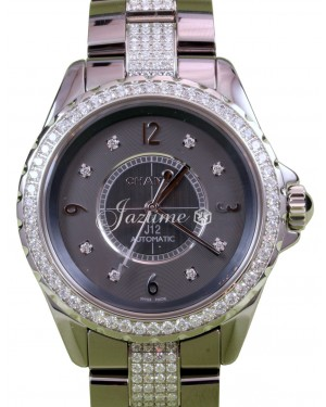 Chanel J12 H3106 Automatic Ladies 38mm Titanium Gray Ceramic Diamond - BRAND NEW