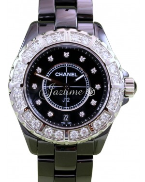 Chanel J12 H2428 38mm Black Ceramic Diamond Bezel  Dial Quartz - BRAND NEW