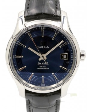 Omega De Ville 431.33.41.21.03.001 Co-Axial Master Chronometer Hour Vision Steel Blue Leather 41mm PRE-OWNED