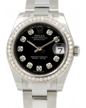 Rolex Datejust 31 Lady Midsize Stainless Steel Black Diamond Dial & Bezel Oyster Bracelet 178240 - BRAND NEW