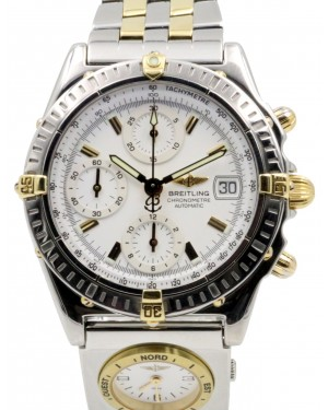 Breitling Chronomat B13352 White Index 18k Yellow Gold Stainless Steel Automatic Chronograph