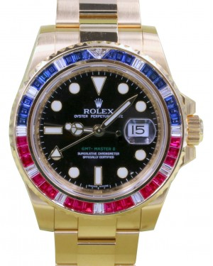 Rolex GMT Master II 116748SARU Ruby Sapphire Diamond 18k Yellow Gold