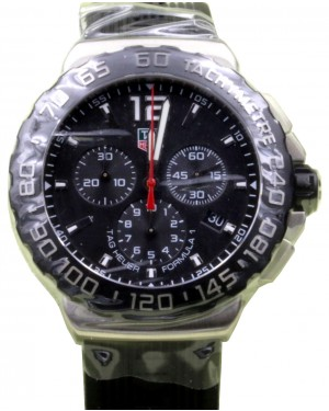 TAG Heuer Formula 1 Chronograph CAU1110.FT6024 42mm Black Index Stainless Steel Rubber BRAND NEW