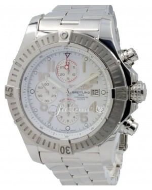Breitling Super Avenger A13370 White Arabic 48mm XL Stainless Pro 2 Mens BOX PAPERS