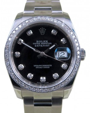 Rolex Datejust 116200 Diamond Black Dial Bezel 36mm Stainless Steel Oyster