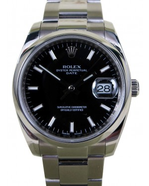 Rolex Date 115200 Oyster Midsize 34mm Black Index Dial Stainless Steel