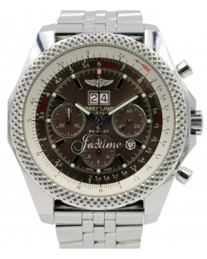 Breitling Bentley 6.75 A44364 Speed Havana Brown Stainless Steel Chronograph BOX/PAPERS