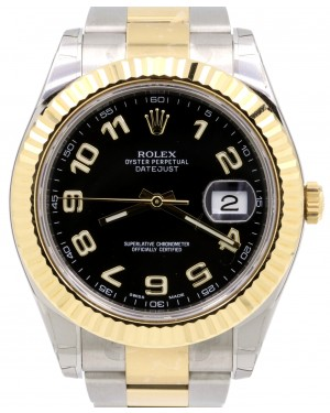 Rolex Datejust II 116333 Black Arabic Yellow Gold Stainless Steel Oyster Men's 41mm - BRAND NEW