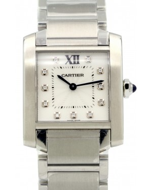 Cartier WE110007 Tank Francaise Silver Opaline Diamond Stainless Steel BRAND NEW