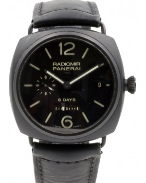 Panerai PAM 384 Radiomir 8 Days Ceramica Black Ceramic Leather Men's 45mm Leather