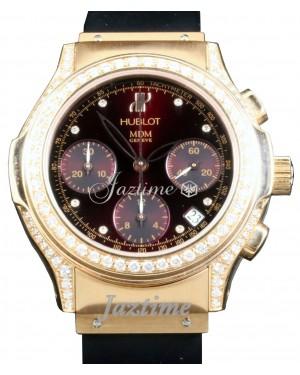 Hublot MDM Geneve Ladies Diamond 18k Rose Gold Black Chronograph