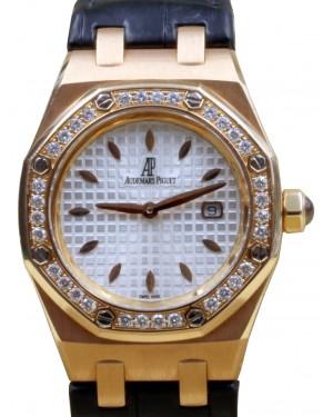 Royal Oak Lady Quartz 18k Rose Gold Silver Diamond White Rubber 67621OR.ZZ.D010CA.01 - BRAND NEW