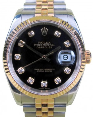 Rolex Datejust 116233 Diamond Black 18k Yellow Gold Stainless Steel Jubilee