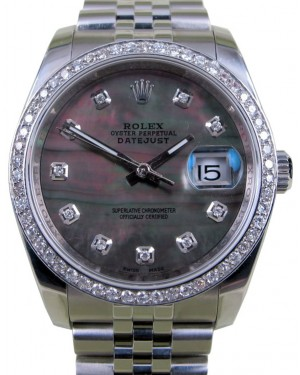 Rolex Datejust 116200 Diamond Dark Mother Of Pearl Dial 36mm Stainless Steel Jubilee