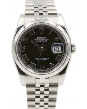 Rolex Datejust 36 Stainless Steel Black Roman Dial & Smooth Domed Bezel Jubilee Bracelet 116200 - PRE-OWNED