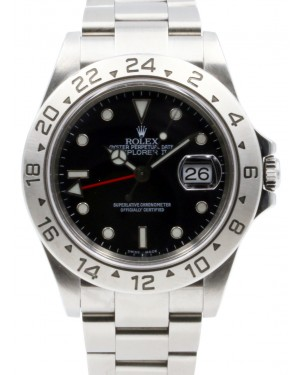 Rolex Explorer II Stainless Steel Black 40mm Dial Stainless Steel Oyster GMT Holes Case SEL 16570 - PRE-OWNED