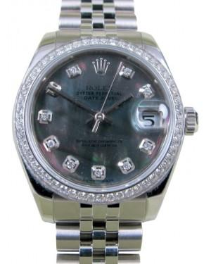 Rolex Datejust 31 Lady Midsize Stainless Steel Black Mother of Pearl Diamond Dial & Bezel Jubilee Bracelet 178240 - BRAND NEW