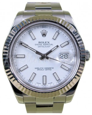Rolex Datejust II Stainless Steel White Index 41mm Dial Fluted White Gold Bezel Oyster Bracelet 116334 - PRE-OWNED