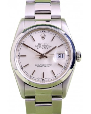 Rolex Datejust 16200 Silver Index 36mm Stainless Steel Oyster