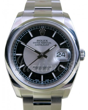 Rolex Datejust 116200 Index Black 36mm Tuxedo Dial Stainless Steel Oyster