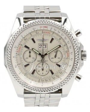 Breitling Bentley 6.75 A44362 Men's 48mm White Index Chronograph Stainless Steel