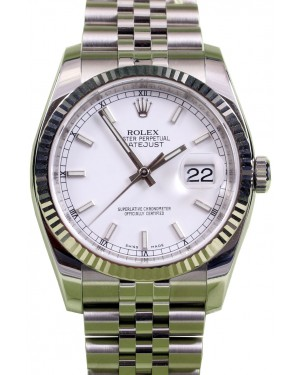 Rolex Datejust 116234 White Index 18k White Gold Fluted Bezel Jubilee 36mm Stainless Steel