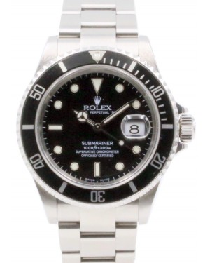 Rolex Submariner Date Stainless Steel Black Dial & Aluminum Bezel Oyster Bracelet No Holes 16610 - PRE-OWNED