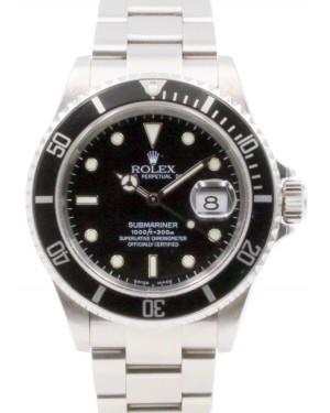 Rolex Submariner Stainless Steel 40mm Black Dial Aluminum Bezel SEL Oyster Bracelet No Holes Case 16610 - PRE-OWNED 2004-08