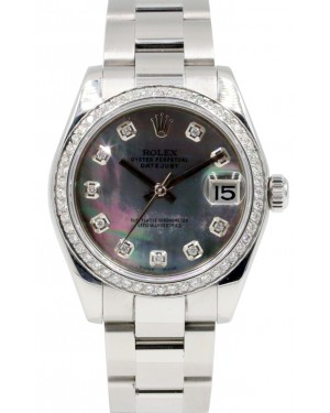 Rolex Datejust 31 Lady Midsize Stainless Steel Black Mother of Pearl Diamond Dial & Bezel Oyster Bracelet 178240 - BRAND NEW