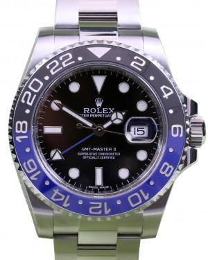 "Rolex GMT-Master II ""Batman"" Stainless Steel Black & Blue Ceramic Bezel Oyster Bracelet 116710BLNR - PRE-OWNED"