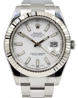 Rolex Datejust II 116334 Men's 41mm White Index Stainless Steel Oyster BRAND NEW