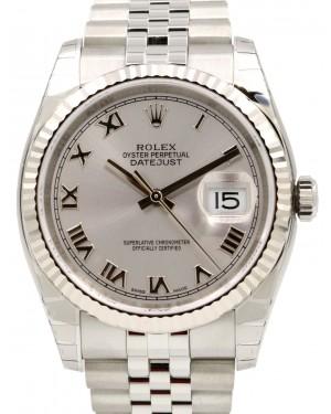 Rolex Datejust 36 White Gold/Steel Silver Roman Dial & Fluted Bezel Jubilee Bracelet 116234 - BRAND NEW