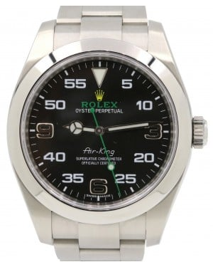 Rolex Air-King 116900 40mm Black Arabic Green Hand Stainless Steel Oyster - PRE-OWNED