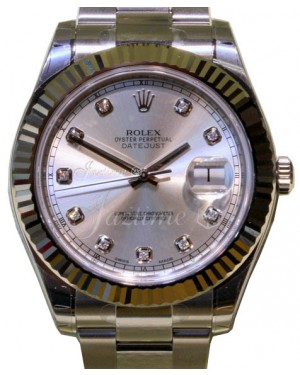 Rolex Datejust II Stainless Steel & White Gold 41mm Silver Diamond Dial Fluted Bezel Oyster Bracelet 116334 - PRE-OWNED