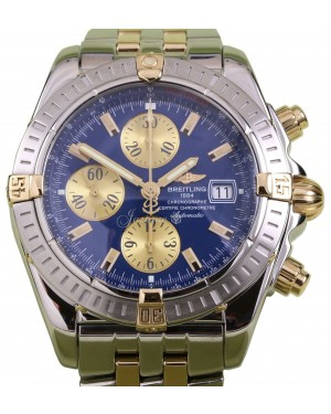 Breitling Chronomat Evolution B13356 Blue Two-Tone Yellow Gold Stainless Steel Thru Bracelet