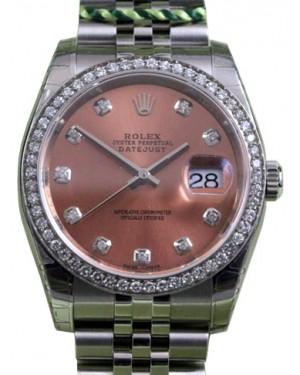 Rolex Datejust 116200 Diamond Pink Dial Bezel Stainless Steel Jubilee BRAND NEW