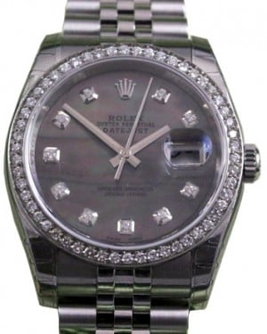 Rolex Datejust 116200 Diamond Dark Mother of Pearl Dial Bezel Jubilee BRAND NEW