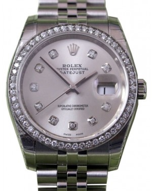 Rolex Datejust 116200 Diamond Silver Dial Bezel Stainless Steel Jubilee BRAND NEW