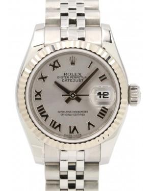 Rolex Lady-Datejust 26 179174-RHDRJ Rhodium Roman Fluted White Gold Stainless Steel Jubilee